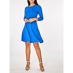 Dorothy Perkins - Cobalt 3/4 sleeves popper dress