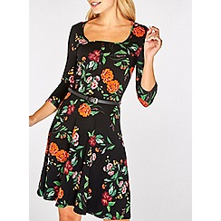 Dorothy Perkins - Black floral print belted skater dress