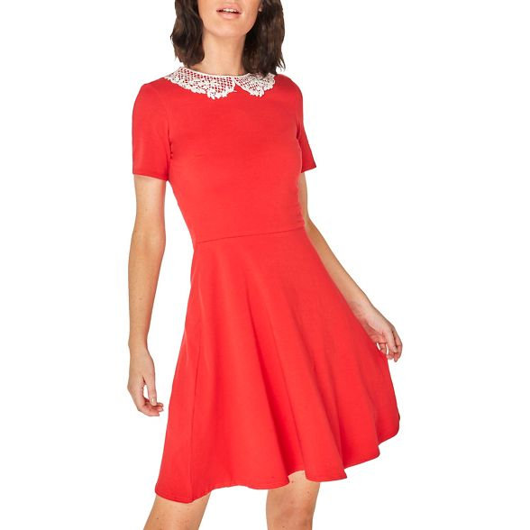 Red Perkins skater collar Dorothy dress lace UPqwTfZ