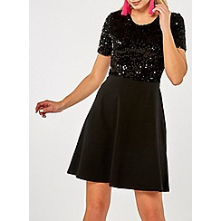 Dorothy Perkins - Black sequin top skater dress