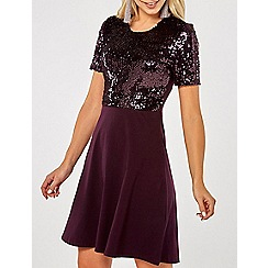 Dorothy Perkins - Wine sequin top skater dress