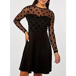 Dorothy Perkins - Glitter spot mesh top skater dress