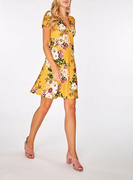 Yellow skater floral v print Dorothy Perkins neck dress pRwzqWHCx