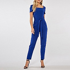 Dorothy Perkins - Cobalt Blue Square Neck Belted Jumpsuit