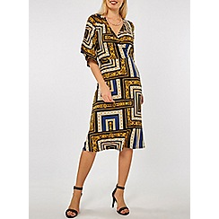 Dorothy Perkins - Blue chain print wrap midi dress