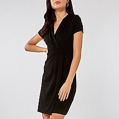 Dorothy Perkins - Black pleat wrap pencil dress