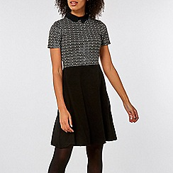 Dorothy Perkins - Black jacquard heart print 2-in-1 dress