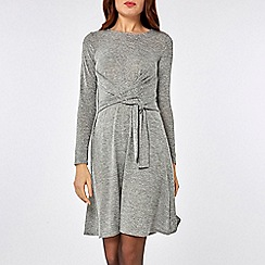 Dorothy Perkins - Grey knot brushed fit and flare dress