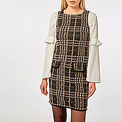 Dorothy Perkins - Black and camel checked shift dress