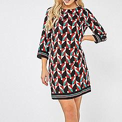 Dorothy Perkins - Multi Coloured Geometric Print 3/4 Sleeves Shift Dress