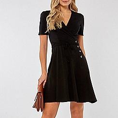 Dorothy Perkins - Black horn button wrap dress
