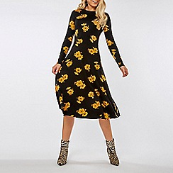 Dorothy Perkins - Ochre floral print jersey midi fit and flare dress