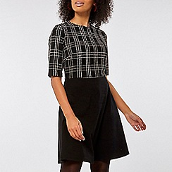 Dorothy Perkins - Black and white check 2-in-1 fit and flare dress