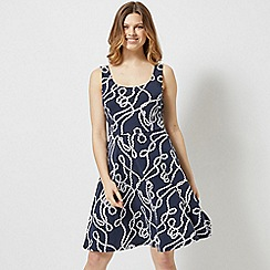 Dorothy Perkins - Navy and White Rope Seamed Fit and Flare Dress