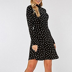 Dorothy Perkins - Black Spot Print High Neck Fit and Flare Dress