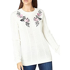 Dorothy Perkins - Tall ivory embroidered cable knit jumper