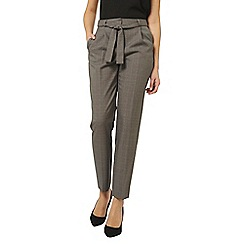 Dorothy Perkins - Tall grey cross hatch checked tie trousers