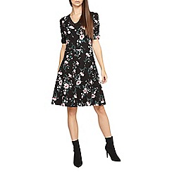 Dorothy Perkins - Tall black floral print lace trim fit and flare dress