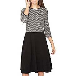 Dorothy Perkins - Tall black zig zag jacquard skater dress
