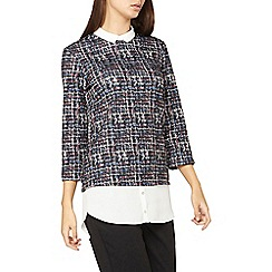 Dorothy Perkins - Tall black jersey jacquard 2-in-1 top