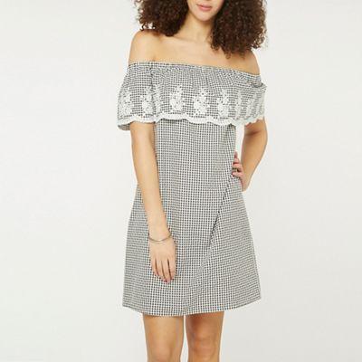 Dorothy Perkins   Tall Monochrome Gingham Bardot Dress by Dorothy Perkins