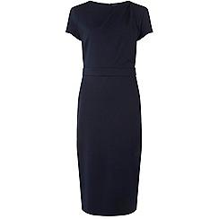 Dorothy Perkins - Tall navy pleat neck twill pencil dress