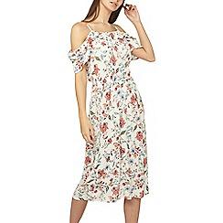 Dorothy Perkins - Tall ivory floral cold shoulder skater dress