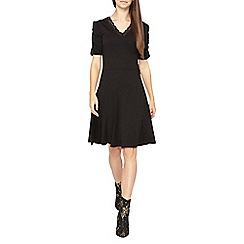 Dorothy Perkins - Tall black lace trim v-neck fit and flare dress