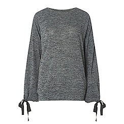 Dorothy Perkins - Tall charcoal tie sleeve top