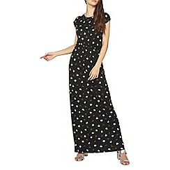 Dorothy Perkins - Tall black daisy spot tie waist maxi dress