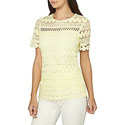 Dorothy Perkins - Tall lemon geometric lace t-shirt