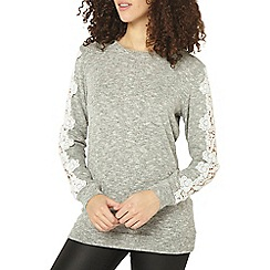 Dorothy Perkins - Tall grey lace sleeve brushed jumper