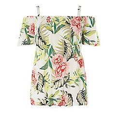 Dorothy Perkins - Tall ivory cold shoulder floral print top