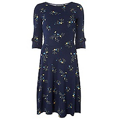 Dorothy Perkins - Tall navy ditsy floral bow sleeve skater dress