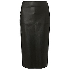 Dorothy Perkins - Tall black faux-leather midi skirt