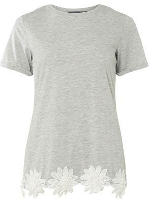 Dorothy Perkins   Tall Grey Trim T Shirt by Dorothy Perkins