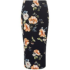Dorothy Perkins - Tall navy floral tube skirt