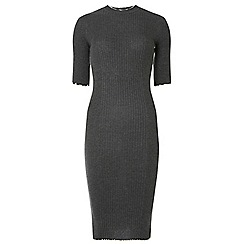 Dorothy Perkins - Tall grey lettuce edge bodycon dress