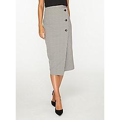 Dorothy Perkins - Tall monochrome mutli check button detail pencil skirt