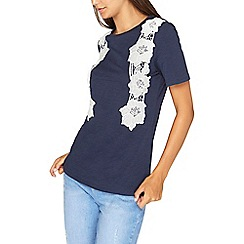 Dorothy Perkins - Tall navy floral vertical lace trim t-shirt