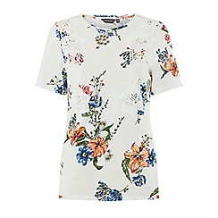 Dorothy Perkins - Tall white floral print vertical lace t-shirt