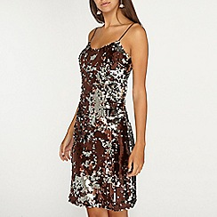 Dorothy Perkins - Tall chocolate brown sequin slip dress