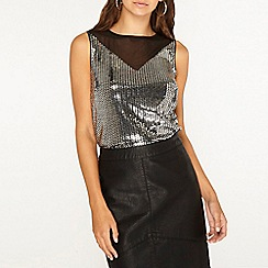 Dorothy Perkins - Tall silver jersey sequin mesh top