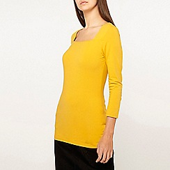Dorothy Perkins - Tall Mustard Square Neck Top
