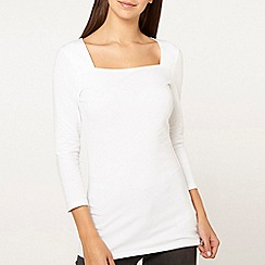 Dorothy Perkins - Ivory square neck top