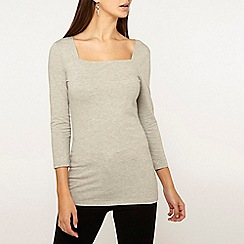 Dorothy Perkins - Tall Grey Square Neck Top