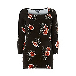 Dorothy Perkins - Tall Black Floral Square Neck Top