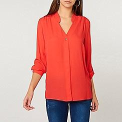 Dorothy Perkins - Tall coral pink roll sleeve shirt