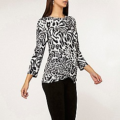 Dorothy Perkins - Tall grey leopard print wrap top