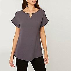 Dorothy Perkins - Tall grey bar trim t-shirt